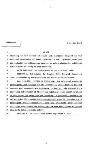 82nd Texas Legislature, Regular Session, House Bill 2663, Chapter 1020