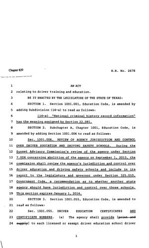 Primary view of object titled '82nd Texas Legislature, Regular Session, House Bill 2678, Chapter 820'.