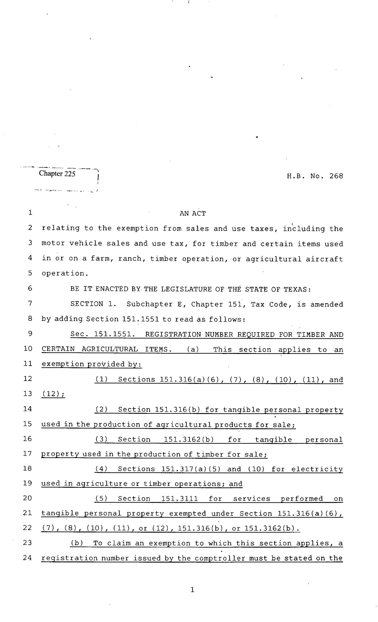 82nd Texas Legislature, Regular Session, House Bill 268, Chapter 225                                                                                                      [Sequence #]: 1 of 13