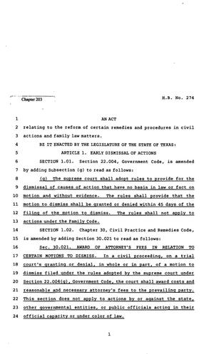 Primary view of object titled '82nd Texas Legislature, Regular Session, House Bill 274, Chapter 203'.