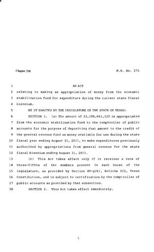 Primary view of object titled '82nd Texas Legislature, Regular Session, House Bill 275, Chapter 208'.