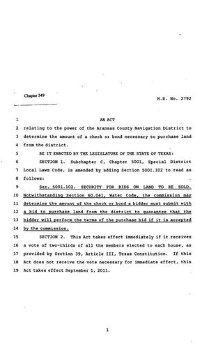 Primary view of object titled '82nd Texas Legislature, Regular Session, House Bill 2792, Chapter 549'.