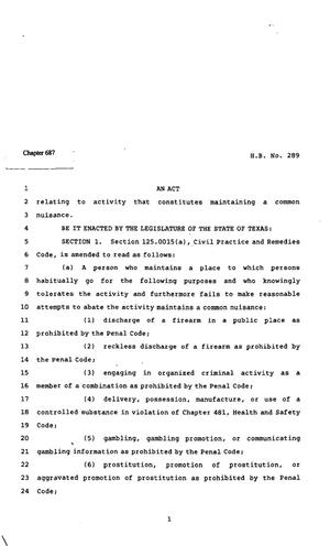 Primary view of object titled '82nd Texas Legislature, Regular Session, House Bill 289, Chapter 687'.