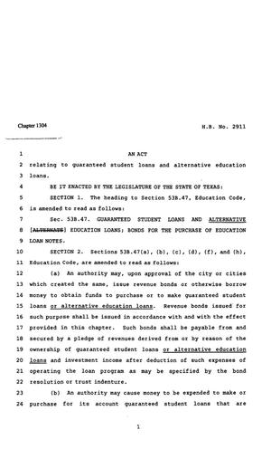 82nd Texas Legislature, Regular Session, House Bill 2911, Chapter 1304