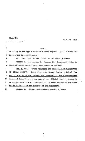 Primary view of object titled '82nd Texas Legislature, Regular Session, House Bill 2935, Chapter 556'.