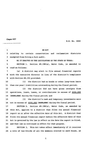 Primary view of object titled '82nd Texas Legislature, Regular Session, House Bill 3002, Chapter 1037'.