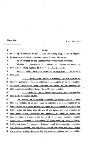 Primary view of object titled '82nd Texas Legislature, Regular Session, House Bill 3025, Chapter 1038'.