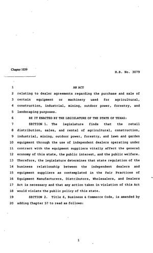 Primary view of object titled '82nd Texas Legislature, Regular Session, House Bill 3079, Chapter 1039'.