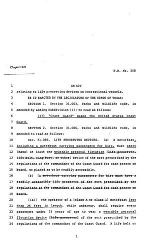 Primary view of object titled '82nd Texas Legislature, Regular Session, House Bill 308, Chapter 1127'.