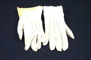 Primary view of object titled 'White wedding gloves'.