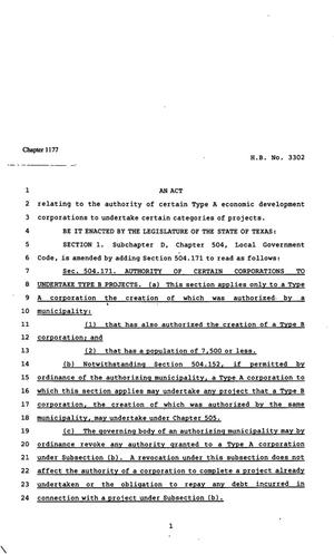 Primary view of object titled '82nd Texas Legislature, Regular Session, House Bill 3302, Chapter 1177'.