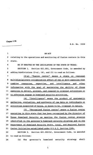 Primary view of object titled '82nd Texas Legislature, Regular Session, House Bill 3324, Chapter 1178'.