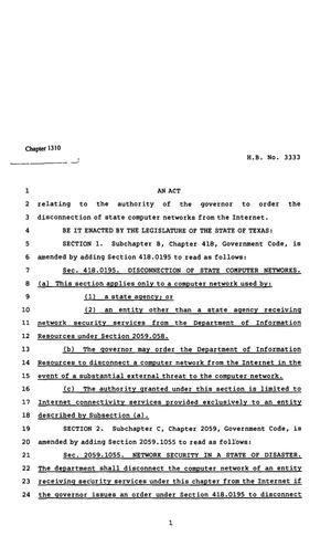 Primary view of object titled '82nd Texas Legislature, Regular Session, House Bill 3333, Chapter 1310'.
