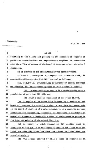 Primary view of object titled '82nd Texas Legislature, Regular Session, House Bill 336, Chapter 1272'.