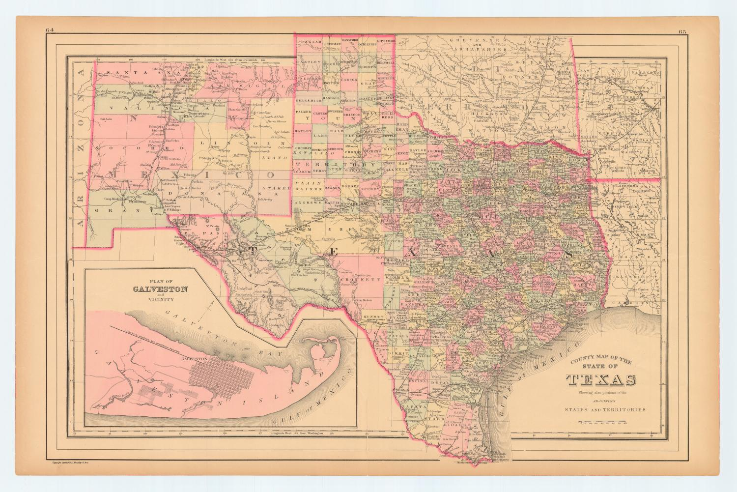 County Map Of The State Of Texas Showing Also Portions Of