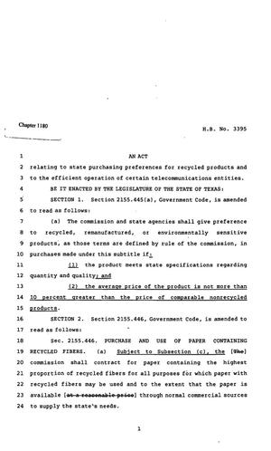 Primary view of object titled '82nd Texas Legislature, Regular Session, House Bill 3395, Chapter 1180'.