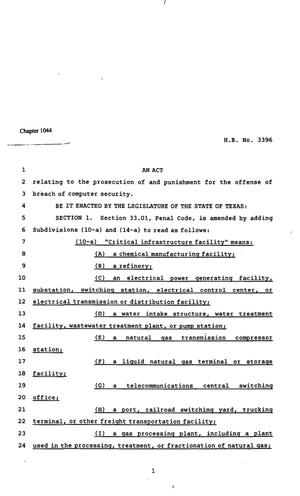 Primary view of object titled '82nd Texas Legislature, Regular Session, House Bill 3396, Chapter 1044'.