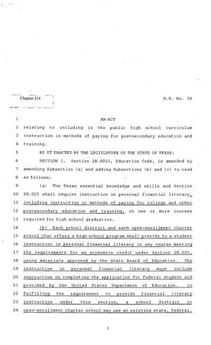 Primary view of object titled '82nd Texas Legislature, Regular Session, House Bill 34, Chapter 214'.