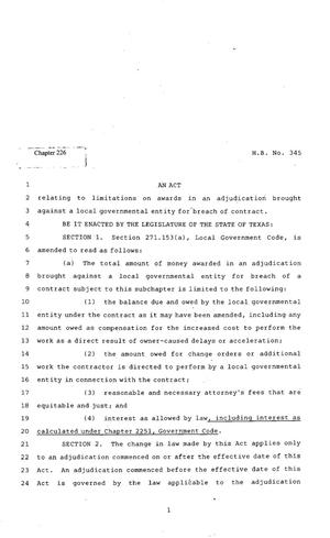 Primary view of object titled '82nd Texas Legislature, Regular Session, House Bill 345, Chapter 226'.