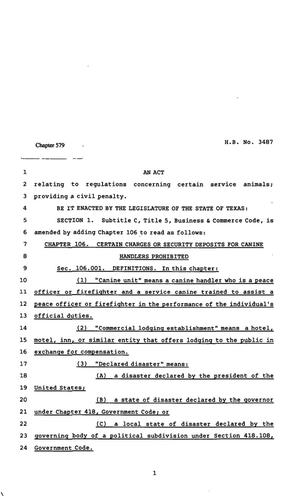 Primary view of object titled '82nd Texas Legislature, Regular Session, House Bill 3487, Chapter 579'.