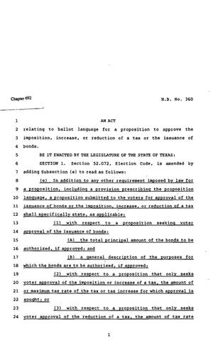 Primary view of object titled '82nd Texas Legislature, Regular Session, House Bill 360, Chapter 692'.