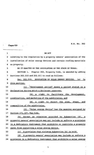 Primary view of object titled '82nd Texas Legislature, Regular Session, House Bill 362, Chapter 939'.