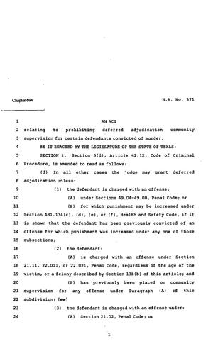 Primary view of object titled '82nd Texas Legislature, Regular Session, House Bill 371, Chapter 694'.