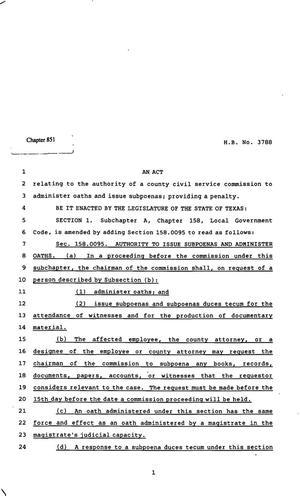 Primary view of object titled '82nd Texas Legislature, Regular Session, House Bill 3788, Chapter 851'.