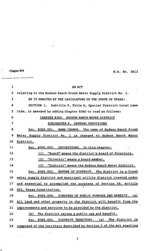 Primary view of object titled '82nd Texas Legislature, Regular Session, House Bill 3813, Chapter 854'.