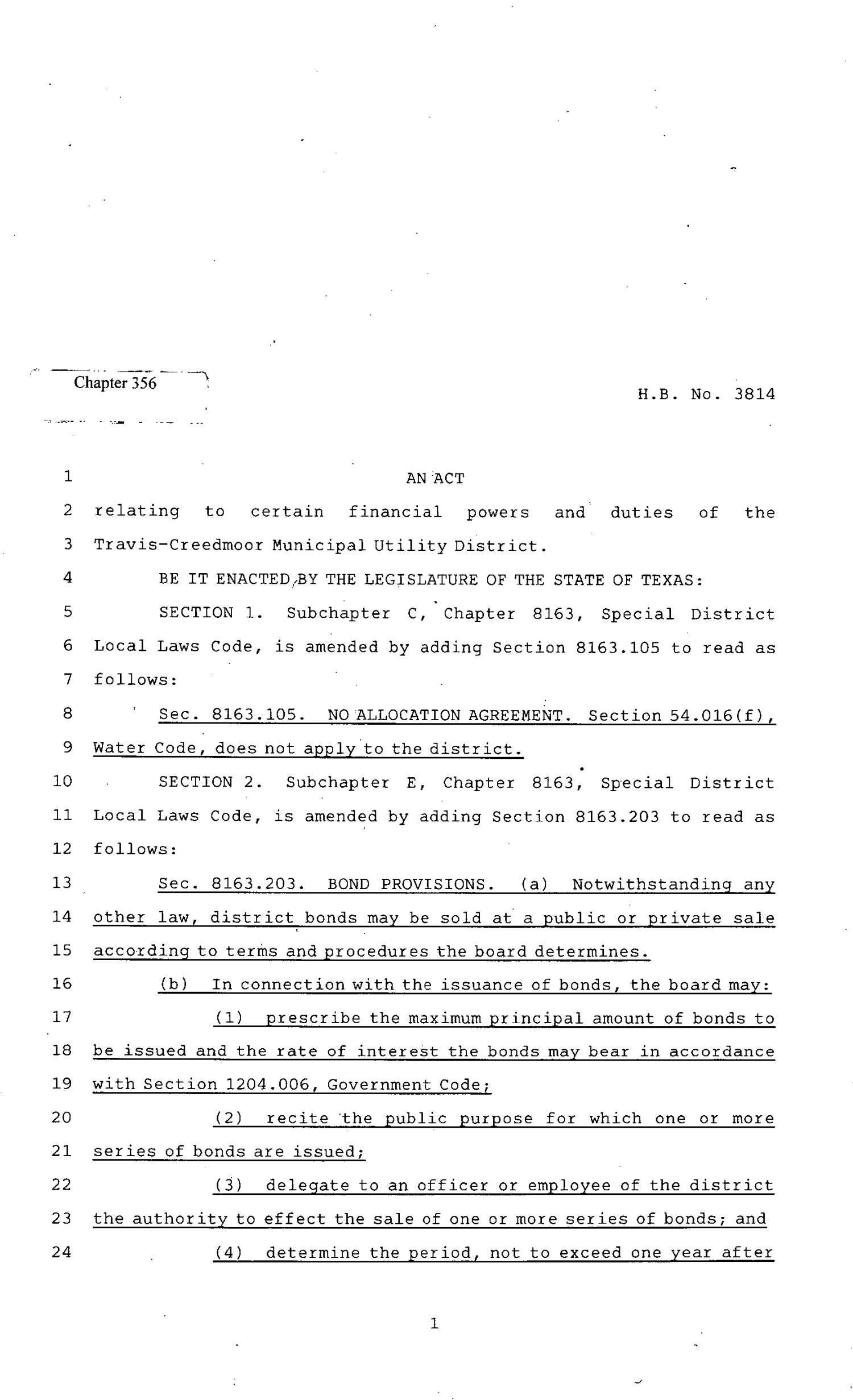 82nd Texas Legislature, Regular Session, House Bill 3814, Chapter 356                                                                                                      [Sequence #]: 1 of 4