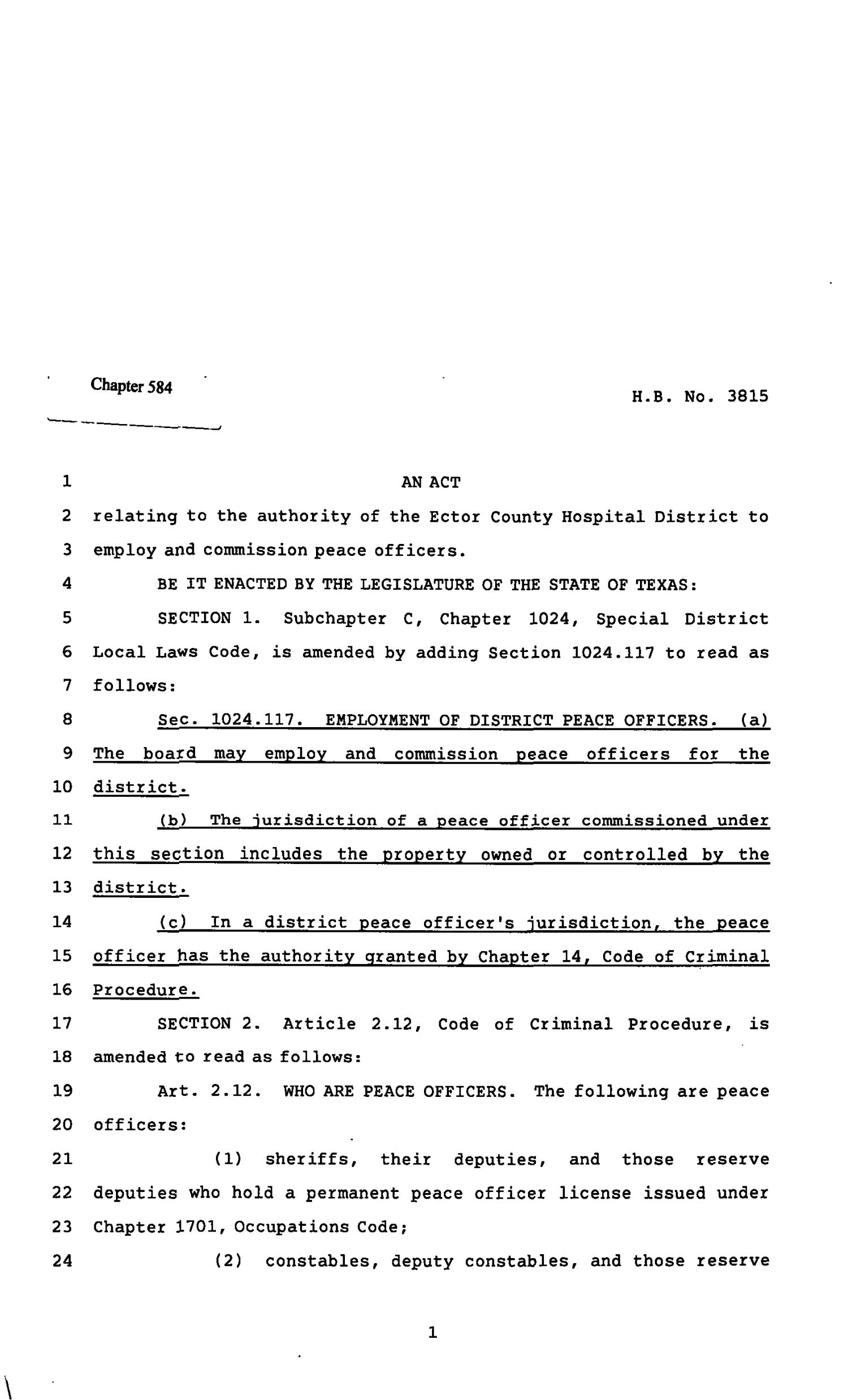 82nd Texas Legislature, Regular Session, House Bill 3815, Chapter 584                                                                                                      [Sequence #]: 1 of 6