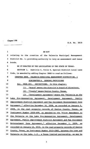 Primary view of object titled '82nd Texas Legislature, Regular Session, House Bill 3819, Chapter 1190'.