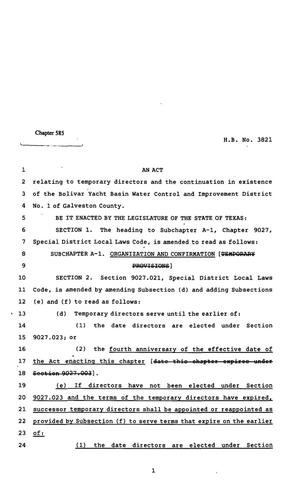 Primary view of object titled '82nd Texas Legislature, Regular Session, House Bill 3821, Chapter 585'.