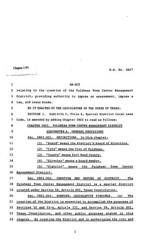 Primary view of object titled '82nd Texas Legislature, Regular Session, House Bill 3827, Chapter 1191'.