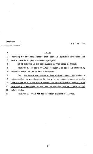 Primary view of object titled '82nd Texas Legislature, Regular Session, House Bill 412, Chapter 697'.