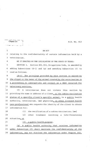 Primary view of object titled '82nd Texas Legislature, Regular Session, House Bill 413, Chapter 231'.