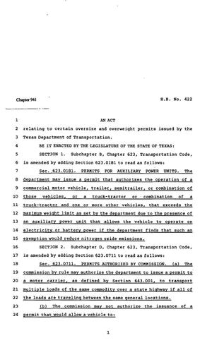 Primary view of object titled '82nd Texas Legislature, Regular Session, House Bill 422, Chapter 941'.