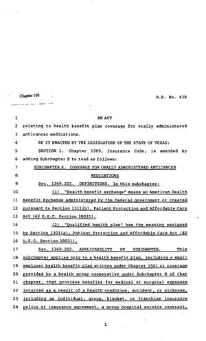 Primary view of object titled '82nd Texas Legislature, Regular Session, House Bill 438, Chapter 105'.