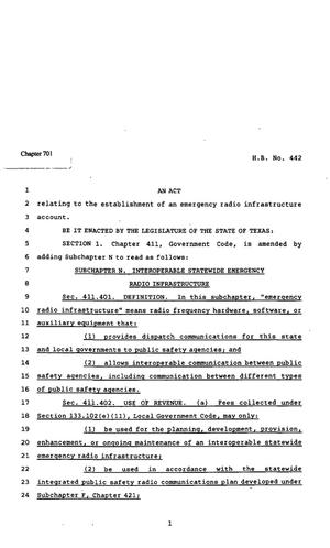 Primary view of object titled '82nd Texas Legislature, Regular Session, House Bill 442, Chapter 701'.