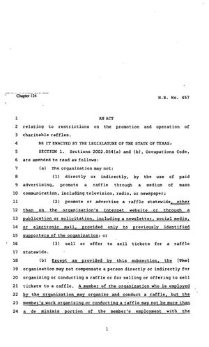 82nd Texas Legislature, Regular Session, House Bill 457, Chapter 124