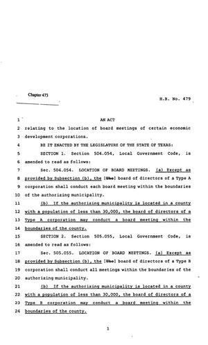 Primary view of object titled '82nd Texas Legislature, Regular Session, House Bill 479, Chapter 473'.