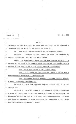 Primary view of object titled '82nd Texas Legislature, Regular Session, House Bill 592, Chapter 235'.