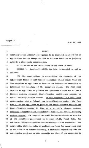 82nd Texas Legislature, Regular Session, House Bill 645, Chapter 712