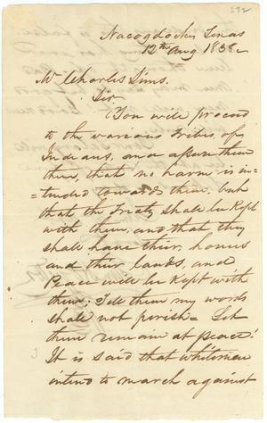 Primary view of object titled '[Letter from Sam Houston to Charles Sims, August 12, 1838]'.