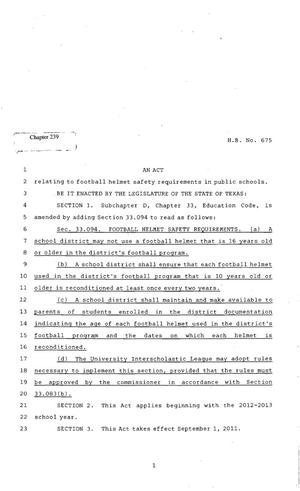 Primary view of object titled '82nd Texas Legislature, Regular Session, House Bill 675, Chapter 239'.