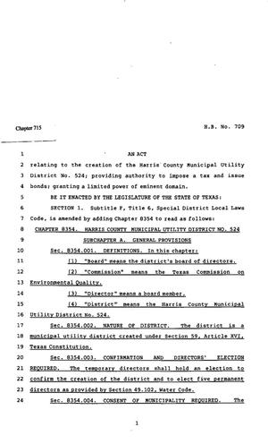 Primary view of object titled '82nd Texas Legislature, Regular Session, House Bill 709, Chapter 715'.