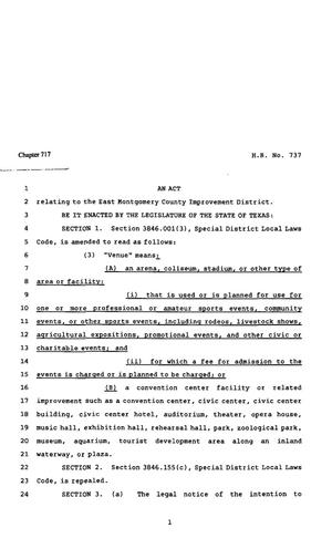 Primary view of object titled '82nd Texas Legislature, Regular Session, House Bill 737, Chapter 717'.