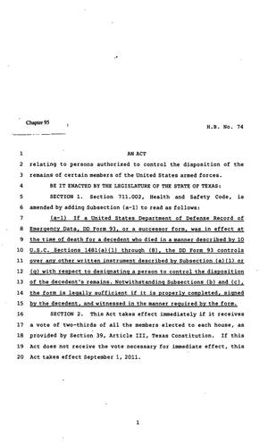 Primary view of object titled '82nd Texas Legislature, Regular Session, House Bill 74, Chapter 95'.