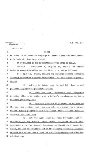 Primary view of object titled '82nd Texas Legislature, Regular Session, House Bill 824, Chapter 241'.