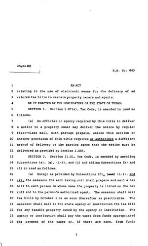 Primary view of object titled '82nd Texas Legislature, Regular Session, House Bill 843, Chapter 483'.
